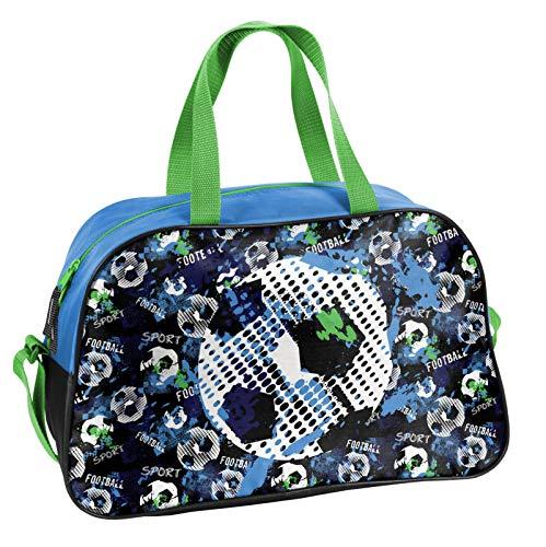 Ragusa-Trade Fussball - Soccer Sporttasche Reisetasche mit tollem Fussmallmotiv (074FT) für Jungen und Mädchen, blau/schwarz/grün, 40 x 25 x 13 cm