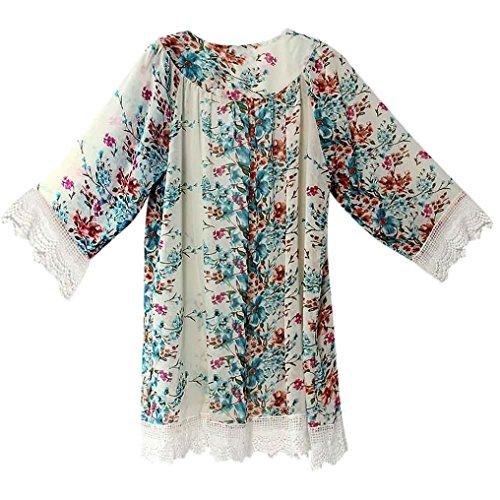 Xmansky Frau Gedruckt Blume Chiffon Schal Kimono Strickjacke Tops Abdeckung Oben Bluse S / M / L / XL (S, Beige) (Pastell-tie Dye)