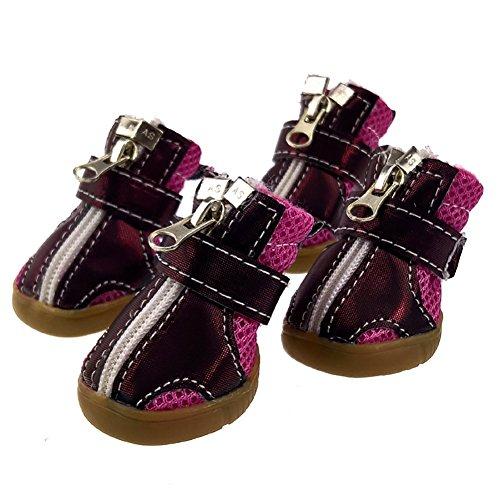 XiYunHan Pet Sneakers, Breathable Mesh Anti-Rutsch-Stiefel Metall Reißverschluss Klettverschleißfeste Oxford Schuhe 4 Stück Sport Dog Boots 2 Farbe & 5 Größe (Color : Rose Red, Size : 1#)