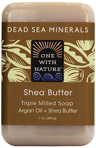 One With Nature Pain de savon ultra hydratant au beurre de karité - Avec sels minéraux de la Mer morte - 200 g