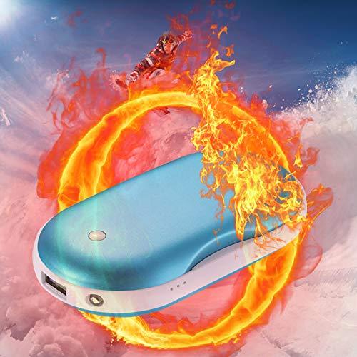 CableClub Handwärmer USB Wiederaufladbare Powerbank mit LED Taschenlampe, Größere Kapazität Tragbare USB-Ladegerät 5200MAH Power Bank Externe Akku für Smartphones, Massage-Vibrationsfunktion(Blau) …