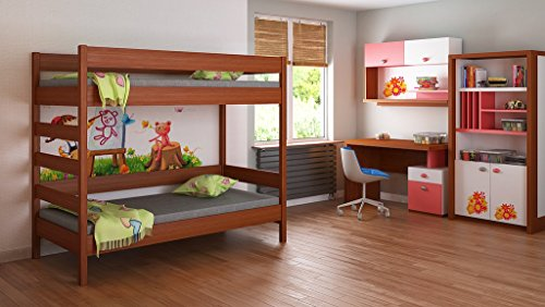 Bunk Beds - Kids Children Juniors Single 140x70, 160x80, 180x80, 180x90, 200x90, with 10cm Foam/Coconut Fibre Mattress but No Drawers Included Ladder on the Side (Short Edge) (140x70, Palisander)