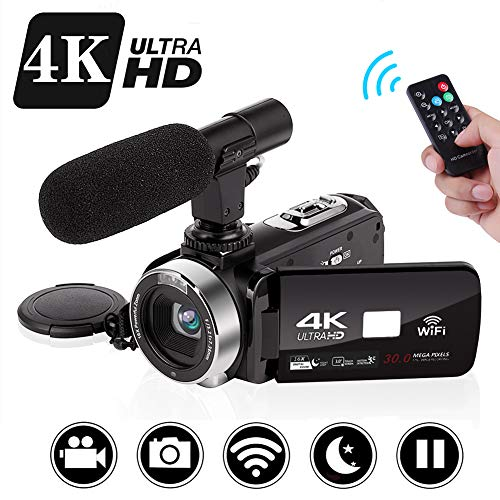 "Camcorder Videokamera 4k Vlogging Kamera 30MP WiFi Steuerung 3,0 "" Touchscreen Digitalvideokamera für YouTube Nachtsicht Camcorder Videokamera mit externem Mikrofon"