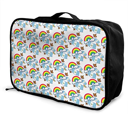 Qurbet Reisetaschen,Reisetasche, Portable Luggage Duffel Bag Guatemala Flag Fleur De Lis Travel Bags Carry-on in Trolley Handle (Fleur Di Lis Gepäck)