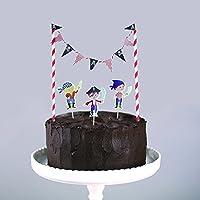 SUNBEAUTY 5er Set Kuchendekoration Cake Topper Kuchenwimpel Girlande Geburtstagskuchen Dekoration