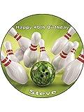 bowling/Skittles personalizzato pre Mium Rice Paper cake topper (7.5