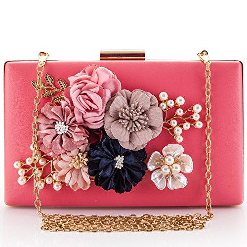 LONGBLE Damen pink Abendtasche aus PU-Leder mit Blumen und Perlen Deko Handtasche Clutch Damen tasche für Abschlussball Partei Hochzeit