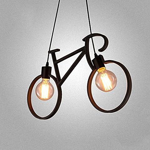 LOFAMI Modern Industrial Bicycle Chandelier 2 light Iron Ceiling Light E27 Cafe Restaurant Living Room Hanging Lamps ( Color : Black