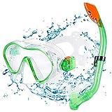 KUYOU Premium Kinder Schnorchelset Taucherbrille mit Schnorchel Tauchset gehärtete Anti-Beschlag...