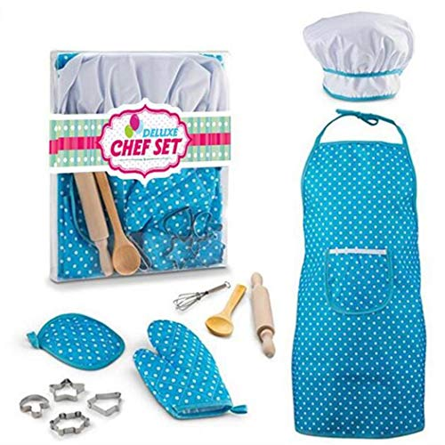 Fantiff Kinder-Kostüm, lustig, für die Küche, zum Spielen und Kochen, Spielen, Spielzeug, Spielcenter blau (Kochen-kits Für Mädchen)