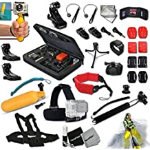 """Xtech® 37 Piece GOPRO Hero Accessories Kit for GoPro HERO4 Hero 4, HERO3 Hero 3, HERO2 Hero 2, Hero 3 Black / Silver Edition,GoPro Hero HD 1080p Digital Cameras Includes: 12"""" Inch Flexible Octopus Tripod+Head Strap Mount+Custom Case+Camera Wrist Mount+Chest Strap Mount+2 Chest Strap+Handheld Monopod+Helmet Harness Mount+Bobber Handle+Wrist Strap Mount+4 VHM Surface Mounting Stickers+2 Flat &2 Curved Surface Mounts+Memory Card Wallet+Table Tripod+Lens Cap Keeper+2 Screen Protectors+7 Pc. Cleaning Kit"""