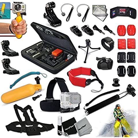 Xtech® 37 Piece GOPRO Hero Accessories Kit for GoPro HERO4 Hero 4, Hero3+ Hero 3+, HERO3 Hero 3, HERO2 Hero 2, Hero 3 Black / Silver Edition, Hero2 Outdoor Edition Hero 960, HD Motorsports HERO, Surf Hero, Hero Naked, GoPro Hero HD 1080p Digital Cameras Includes: Head Strap Mount + Custom Fitted Case + Camera Wrist Mount + Adjustable Chest Strap Mount + 2 Chest Strap J-hooks + Floating Foam Strap + Extendable Handheld Monopod + Helmet Harness Mount + Floating Bobber Handle + Remote Control Wrist Strap Mount + 4 VHM Surface Mounting Stickers + 2 Flat Surface Mounts + 2 Curved Surface Mounts + Memory Card Wallet Holder + Mini Table Tripod + Lens Cap Keeper + 2 Screen Protectors + 7 Piece Deluxe Cleaning Kit + Ultra Fine HeroFiber Cleaning Cloth