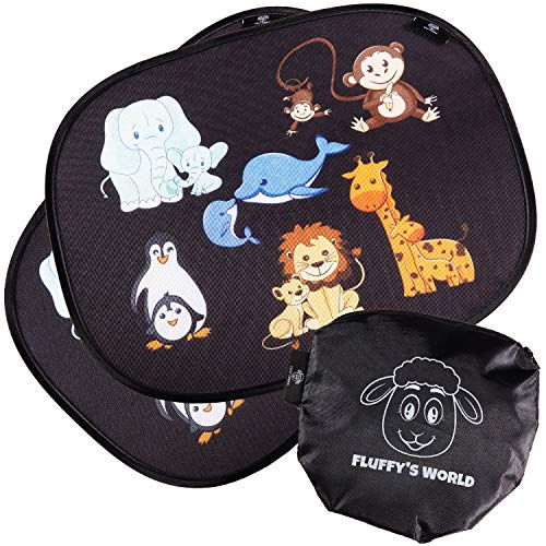 Fluffy\'s World Auto Sonnenschutz Baby mit UV-Schutz - Sonnenblende Autofenster für Kinder - inkl. 6 Saugnäpfen und Tasche