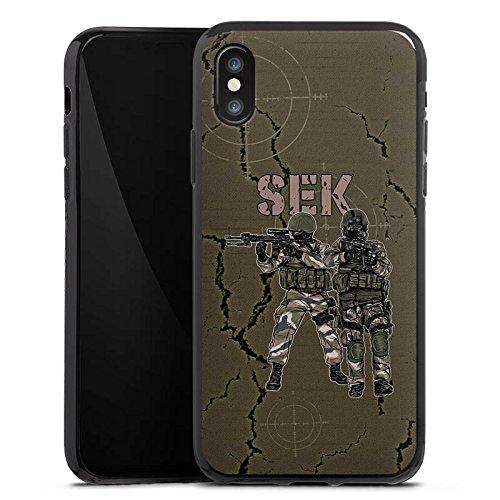 Apple iPhone X Silikon Hülle Case Schutzhülle SEK Polizei Soldat Silikon Case schwarz