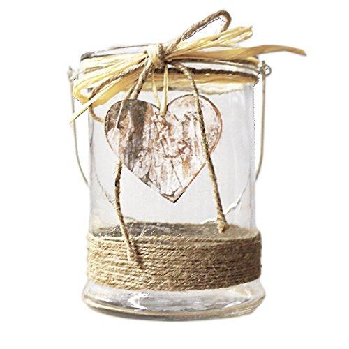 Laterne rund Windlicht für Kerze oder Teelicht Glas Metall mit Holzherz-Verzierung - von Haus der Herzen ®