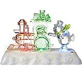 WeRChristmas Farbwechsel LED-Spieluhr Weihnachten Zug und Schneemann Szene Dekoration, Kunststoff, Mehrfarbig, 20cm