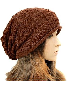 TININNA Inverno Caldo lavorato a maglia knit Crochet sciolto Beret Beanie Hat Cappello per le donne ragazze Brown