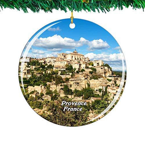 Weekino Frankreich Steinstadt Gordes Provence Weihnachtsverzierung Stadt Reise Souvenir Sammlung Doppelseitig Porzellan 2,85 Zoll Hängende Baumdekoration -