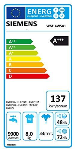 Siemens iQ700 WM14W5A1 Waschmaschine / 8,00 kg / A+++ / 137 kWh / 1.400 U/min / Schnellwaschprogramm / Nachlegefunktion / aquaStop mit lebenslanger Garantie / - 2