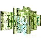 prestigeart Bilder Home Haus Wandbild 200 x 100 cm Vlies - Leinwand Bild XXL Format Wandbilder Wohnzimmer Wohnung Deko Kunstdrucke Grün 5 Teilig -100% Made in Germany - Fertig Zum Aufhängen 502851c