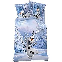 Disney Frozen - niños Ropa de cama Juego de cama reversible Linon Olaf 80/80 x 135/200cm