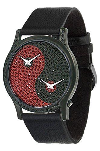 Moog Paris Ying Yang Damen Uhr mit Schwarzem und Rotem Zifferblatt, Swarovski Elements & Schwarzem Armband aus Aal Haut - M44382-101 (Schwarz Aal Haut)