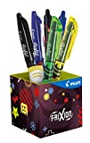 Pilot - Pot à crayons collector FriXion Ball et FriXion Clicker - Roller effaçable - 7 pièces (rollers, surligneurs & gomme) - Pointe moyenne