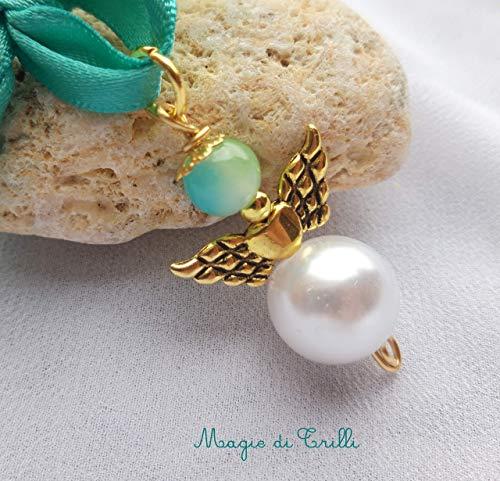 Magie di Trilli: Angelo di Natale: ciondolo artigianale angelo con perle bianco - verde azzurro, ali in argento tibetano dorato: regalo, decorazione e bomboniere per Natale, Pasqua e Comunio