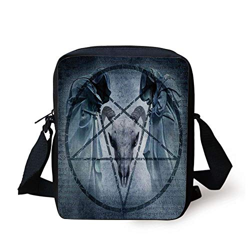 Horror House Decor,Artwork with Pentagram Icon Goat Skull Devil Dream Hoody Figure Exorcist Image,Blue Print Kids Crossbody Messenger Bag Purse -