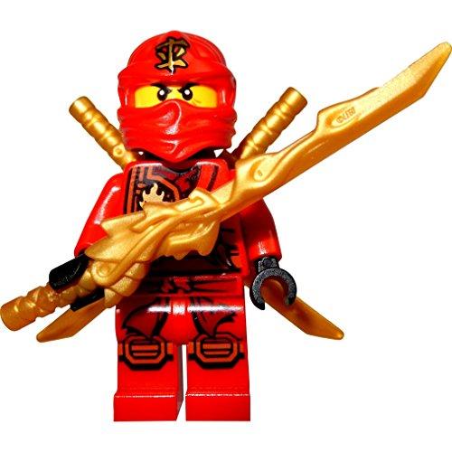 LEGO Ninjago: Minifigur Kai (roter Ninja) mit Drachenschwert und 2 Katanas (Schwert) (Rot Ninjago)