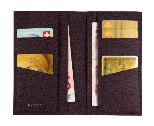 Lucrin - Astuccio per 12 carte di credito, verticale - Pelle Ruvida Bordò