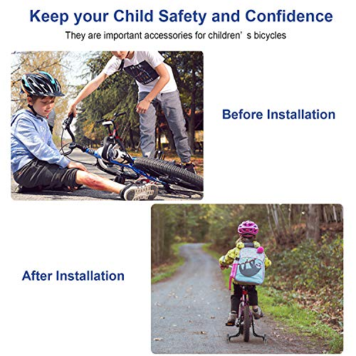 Pwsap Niños Entrenamiento Ruedines Accesorio de Bicicleta Universal,  Destello Bicicleta Estabilizador Ruedas,  Bicicleta Infantil Ruedines,  Ruedas De Entrenamiento De Bicicleta Riding Equipment Negro