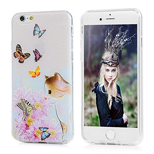 MAXFE.CO TPU Silikon Hülle für iPhone 6 Handyhülle Schale Etui Protective Case Cover Rück mit Kügelchen Skin TPU Kantenschutz Gemalt Design Schutzhülle Katze