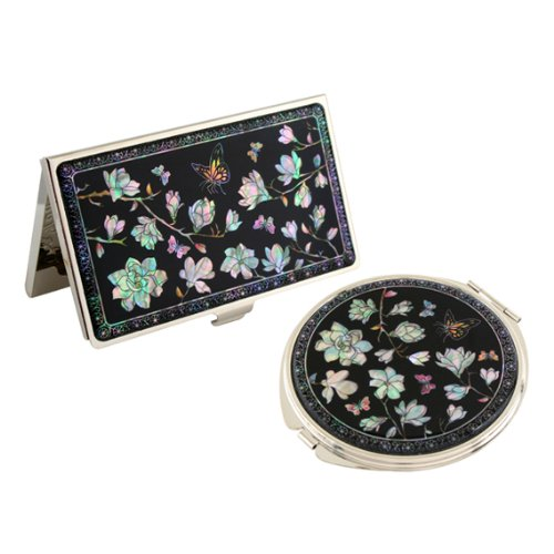 Set Miroir de Poche + Porte cartes de visite Nacre Collection fleur MAGNOLIA
