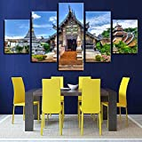 Wall Art Modular Pictures Canvas Painting 5 Pieces Chiang Mai Temple Thailand Landscape Framework Modern Print Living Room Decor