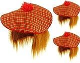 Lot de 3Tartan écossais Tam O Shatner Chapeau et perruque de cheveux roux Sylvestre Fancy Dress