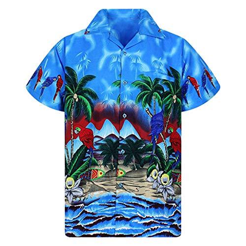 Produp Funky Hawaiian Shirt für Herren Parrot Blumen Strand Kurzarm-Shirts mit Hawaii-Aufdruck -