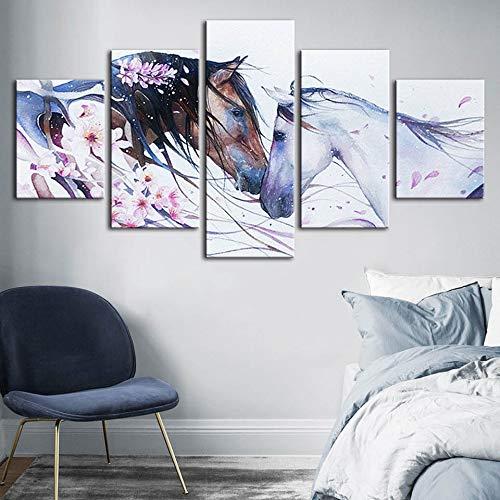 mmwin HD Print Modulare Bild Tier HorseAbstract Blume Poster Für Wohnzimmer Dekoration Wandkunstwerk - Herr Der Sammlung Komplette Ringe
