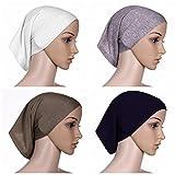 BaiTe 4 pièce Sport Hijab Bonnets Femme Musulman Écharpe Islamic Turban Foulard Cyclisme, Multicolore-02, Taille unique