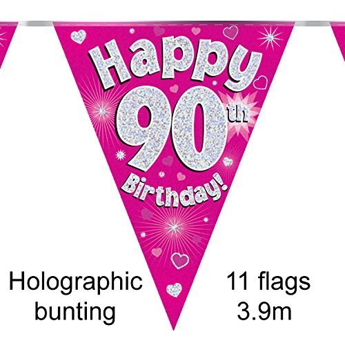 Happy 90th Birthday Pink Holographic Foil Party Bunting 3.9m Long 11 Flags by Oak Tree