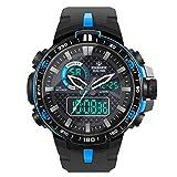 Hiwatch Herren Sport Digitaluhren Outdoor Wasserdicht Sportuhr mit Wecker/Timer, Big Face Military Digital Armbanduhren mit LED Hintergrundbeleuchtung Uhren für Lauf (blau)