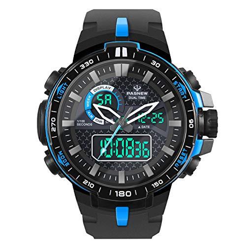 Hiwatch Montre Homme de Sport de Plein Air Étanche Numérique Quartz Militaire Multifonction LED Date Alarme Chronomètre Bleu