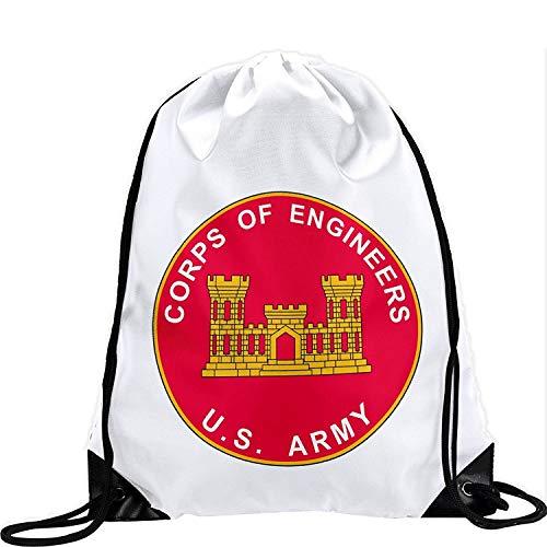 Setyserytu Sporttasche mit Kordelzug, Sportrucksack, Reiserucksack, Large Drawstring Bag with US Army Corps of Engineers, Branch Plaque - Long Lasting Vibrant Image -