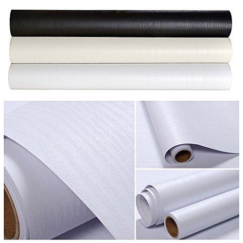 Kinlo 1 rotolo carta adesiva per armadi mobili da cucina autoadesive da parati 5 x 0.61m pvc waterproof ricondizionati wall sticker per vetro elettrodomestici armadio tavolo-gessato bianco