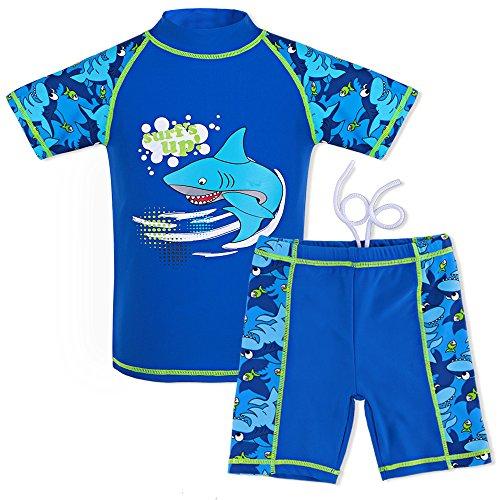 HUAANIUE Jungen Mädchen Bademode 3-12 Jahre Badeanzug~Zweiteiler Langarm 50 + UV Kinder Schwimmsportbekleidung Sonnenschutz (6 Größe Jungen Kleidung)