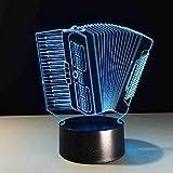 BDDLLM led 3D Luz de Noche Instrumento de Música Acordeón Usb 3D Lámpara Led Romántico 7 Colores Cambiando el Ambiente Ambiente Decoración de la Lámpara Regalo