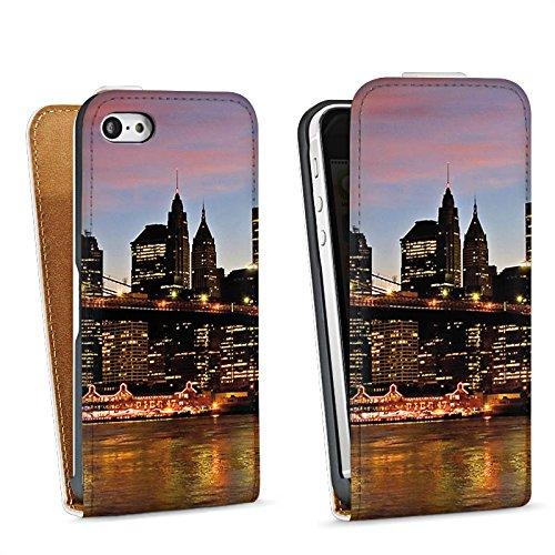 Apple iPhone 4 Housse Étui Silicone Coque Protection New York Night Pont Ville Sac Downflip blanc