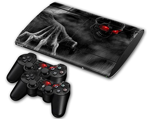 Sony PS3 Playstation 3 Super Slim Skin Design Foils Aufkleber Schutzfolie Set - Dark Skull Motiv