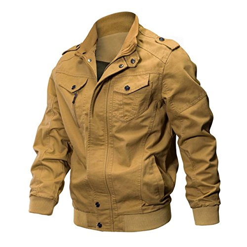KEFITEVD Veste Moto Homme Hommes Outwear Hiver Cargo Militaire Tactique Vestes Multi-poche Bomber Blousons Kaki