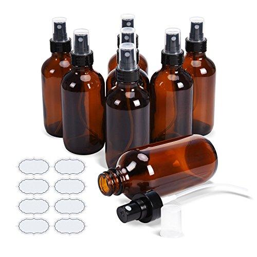 Fine Mist Sprayers 8 Stück 4 Unzen Amber Glasflaschen ULG Leere Spray Zerstäuber für Aromatherapie Kosmetik Sprays Inklusive 8 Stück wasserdichte DIY Etiketten